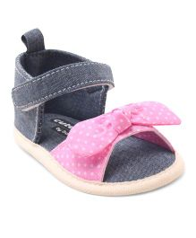 Cute Walk by Babyhug Booties Velcro Closure Bow Applique - Blue Pink