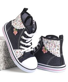 Cute Walk by Babyhug Ankle Length Casual Shoes Floral Print - Navy