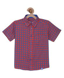 Campana Boys Half Sleeves Check Shirt - Red