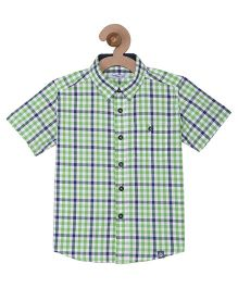 Campana Boys Half Sleeves Check Shirt - Green