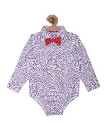 Campana Boys Onesie Shirt With Bow - White & Red