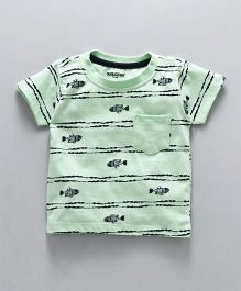 Cucumber Half Sleeves T-Shirt Fish Print - Light Clay Green