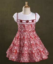 Enfance Core Floral Printed Tiered Dress - Red