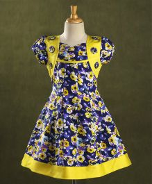 Enfance Core Floral Print Flare Dress With Flowers - Blue & Yellow