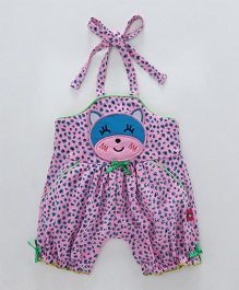 Wow Girl Sleeveless Halter Neck Romper Bear Patch - Pink