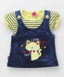Wow Girl Short Sleeves Inner Tee With Denim Frock Kitty Patch - Dark Blue & Yellow