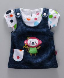 Wow Girl Short Sleeves Inner Tee With Denim Frock Monkey Embroidery - Dark Blue Multi Colour