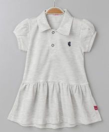 Wow Girl Short Sleeves Collar Neck Tennis Frock - Grey