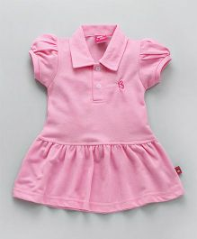 Wow Girl Short Sleeves Collar Neck Tennis Frock - Pink