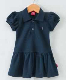 Wow Girl Short Sleeves Collar Neck Tennis Frock - Navy