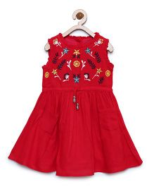 Bella Moda Embroidered Sleeveless Dress With Pockets - Red