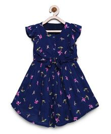 Bella Moda Bird Print Front Open Ruffle Sleeve Dress - Blue