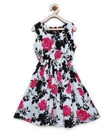 Bella Moda Rose Print Sleeveless Flare Dress - Black