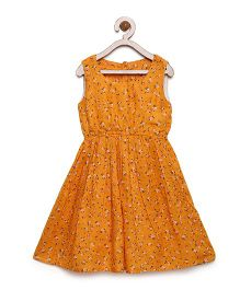 Bella Moda Floral Mini Print Elastic Waist Dress - Yellow
