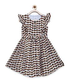 Bella Moda Animal Print Ruffle Sleeve Flare Dress - White