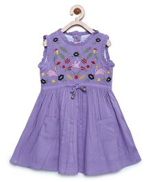 Bella Moda Embroidered Dress With Ruffles - Purple