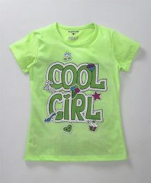 Stupid Cupid Cool Girl Print Top - Green