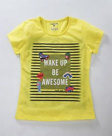 Stupid Cupid Wake Up Print Top - Yellow