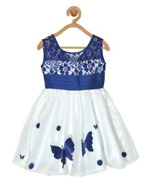 Pspeaches Butterfly Applique Lace Bodice Dress - Navy