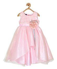 Pspeaches Hi Low Lace Bodice Dress With Flower - Pink