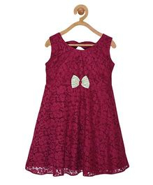 Pspeaches Pleated Neck Lace Dress With Bow - Wine