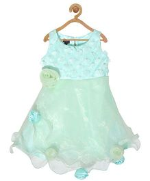 Pspeaches Lace Bodice Net Dress With Roses - Sky Blue