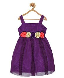 Pspeaches Ruffle & Roses Strap Dress - Purple