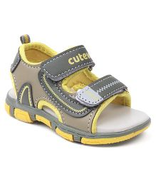 Cute Walk by Babyhug Sandal Dual Velcro Closure - Green & Yellow