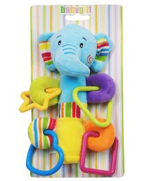 Abracadabra Musical Soft Squeaky Elephant Rattle Toy - Blue