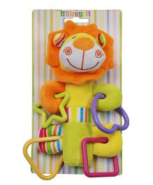 Abracadabra Musical Soft Squeaky Lion Rattle Toy - Orange