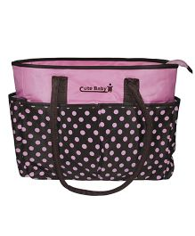 Abracadabra Diaper Bag Polka Dots - Pink & Brown