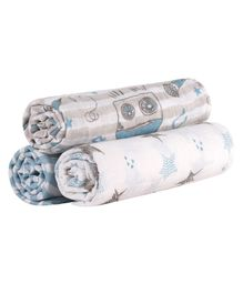 Abracadabra Muslin Swaddle Wrapper Blue & White - Pack of 3