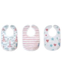 Abracadabra Muslin Velcro Closure Bibs Pink & White - Pack of 3