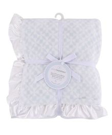 Piccolo Bambino Luxury Blanket With Satin Frill - Blue