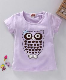 Spring Bunny Owl Print Top - Light Purple