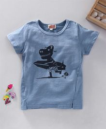 Bunny Dino & Surf Board Print Top - Blue
