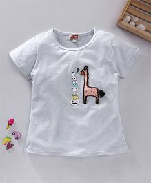 Spring Bunny Giraffe Applique Top - White