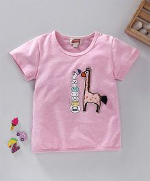 Spring Bunny Giraffe Applique Top - Pink