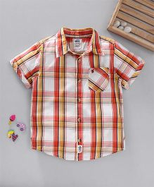 Spring Bunny Check Print Shirt - Orange