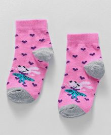 Cute Walk by Babyhug Anti Bacterial Ankle Length Socks Hearts Design - Pink