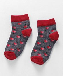Cute Walk by Babyhug Anti Bacterial Ankle Length Socks Hearts Design - Red