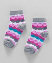 Cute Walk by Babyhug Anti Bacterial Ankle Length Designer Socks - Grey Pink
