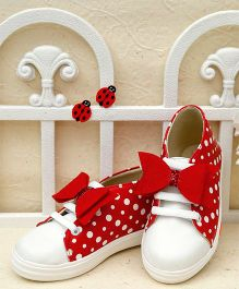 D'Chica Big Bow Slip On Shoes - Red