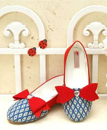 D'Chica Stylish Loafers With Bows - Blue
