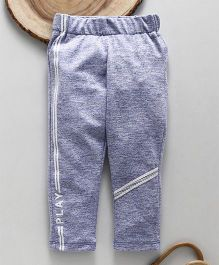 Little Kangaroos Full Length Lounge Pant With Side Stripes Print - Blue Melange