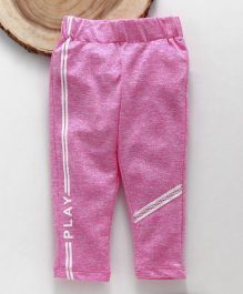 Little Kangaroos Full Length Lounge Pant With Side Stripes Print - Pink