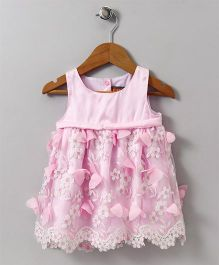 Little Kangaroos Party Wear Sleeveless Embroidered Floral Frock - Pink