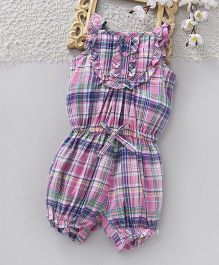 ToffyHouse Sleeveles Jumpsuit Checks Pattern - Pink Purple