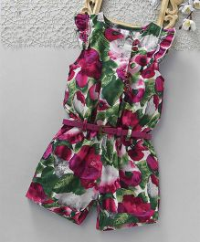 ToffyHouse Cap Sleeves Jumpsuit Floral Print - Magenta & Multi Colour