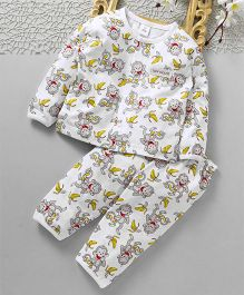 ToffyHouse Full Sleeves Night Suit Monkey Print - White
